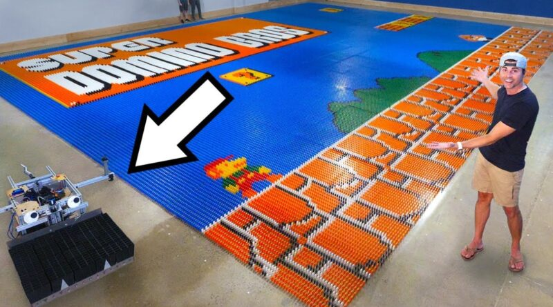 Robot Arranges 100,000 Dominoes Into a Super Mario Bros. Mural in One Day